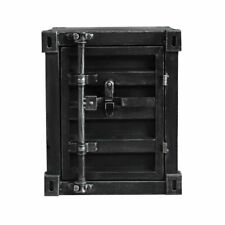 INDUSTRIAL BEDSIDE CABINET METAL STORAGE TOOLS BOX CONTAINER GARAGE VINTAGE BLAC