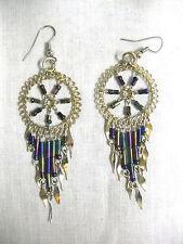 Dark Blue Beads Hook Wire Earrings New Spiral Star Spirit Dreamcatcher w Rainbow