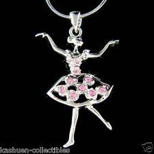 PINK w Swarovski Crystal ~BALLERINA Heart~ Ballet Dancer Charm Pendant Necklace