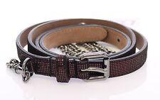 NWT $320 DOLCE & GABBANA D&G Purple Leather Logo Chain Belt s.80cm / 32 inch