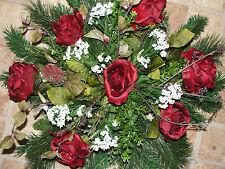 "Valentines Day Pine Headstone Memorial Silk Flower Gravesite Pillow Spray 24x20"""