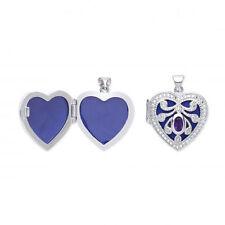 Plata De Ley Medallón Forma Corazón con amatista
