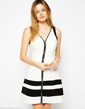 Polyester V Neck Skater Striped Dresses for Women