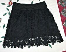 Verty Womens sz S/M Black Crochet Short Skirt w/ Built-In Slip BEAUTIFUL