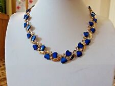 Brand new gold plated necklace with sapphire blue hearts and clear crystals +box