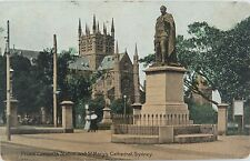 SYDNEY , PRINCE CONSORTS STATUE & ST MARY'S CATHEDRAL EARLY 1900'S POSTCARD