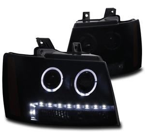 FOR 07-13 AVALANCHE SUBURBAN TAHOE HALO LED PROJECTOR HEADLIGHT LAMP BLACK/SMOKE