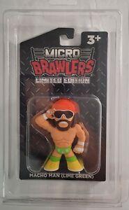 Macho Man Lime Green Micro Brawler w Protector WWF Randy Savage WWE WCW PWTC