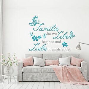 WANDTATTOO Wandaufkleber Familie ist wo Leben beginnt und Liebe niemals endet!