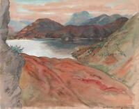 BEN NEVIS & LOCH LINNHE SCOTLAND Antique Watercolour Painting 1936
