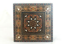 Vintage SYRIAN MOSAIC BOX w wood & mother of pearl pieces