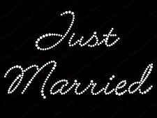 "Diamonte Hotfix Wedding Transfers Rhinestones iron On Motif ""Just Married "" -S1"