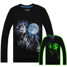 Men Cotton Blended 3D Printed Noctilucent Wolf Long Sleeve T-shirt