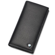 BMW Genuine Leather Bifold Long Men Wallet with 11 Credit Card Slots & ID Window