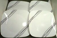 "Lot/4 Corelle Corning Vitrelle Sketch Dinner Plates 10 1/2"" Square Black Lines"