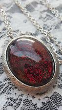 ROCKABILLY Glitter Blood Red Vampire Amulet Psycho Goth Locket Necklace Pill box