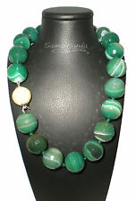 Collana In Agata Verde Striata con chiusura in argento 925 dorata Made in Italy