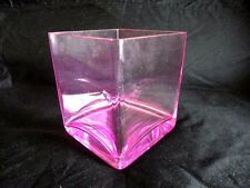 Pink Teleflora Glass Cube Floral Vase Modern
