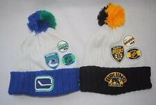 NEW NHL Winter knit cuff Sideline beanie MAN'S Cap Pom Vancouver Canucks BRUINS