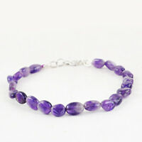 """55.00 Cts Earth Mined Purple Amethyst 8"""" Inches Long Oval Shape Beads Bracelet"""