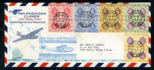 Hong Kong - 1937 Pan American First Flight Airmail Cover to San Francisco