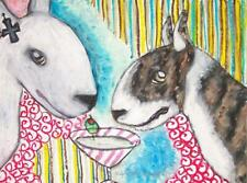 Bull Terrier Drinking Martini 5x7 Pop Art Print Dog Collectible by Artist Ksams