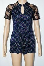 Short Sleeve Check Crew Neck Jumpsuits & Playsuits for Women
