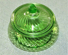 "VINTAGE VASELINE GREEN GLASS COVERED CANDY DISH WHEEL CUT SWIRL PATTERN 6"" TALL"