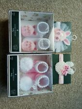 BNIBLaura Ashley Baby Head Wrap Band And Socks set x 2 . 0-12 months , cute