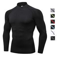 Mens Compression Shirt Mock Dri-fit Plain Slim fit Base layer Long Sleeve Tights