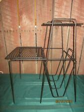 Vtg Mid Century Modern Metal Wire Record Rack Turntable LP Holder Stand phone