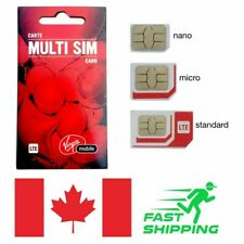 50 X -VIRGIN MOBILE TRIPLE FORMAT SIM 4G LTE PRE/POSTPAID CANADA TRAVEL