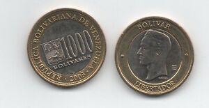 Venezuela 2005 1000 Bolivares Bimetallic Coin Y 85 UNC