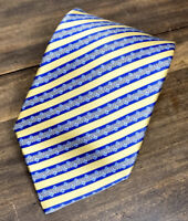 """Stefano Ricci Mens Luxury Silk Necktie Yellow & Blue Stripes Made in Italy 59"""" L"""