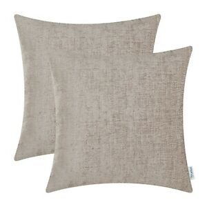 """2Pcs Taupe Cushion Covers Pillow Shells Dyed Soft Chenille Sofa Car Decor 22x22"""""""