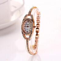 Fashion Women's  Lady Crystal Bracelet Stainless Steel Quartz Wrist Watch Gold