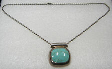 MEXICO STERLING SILVER TURQUOISE NECKLACE PENDANT ON 19 INCH BALL CHAIN N285-M