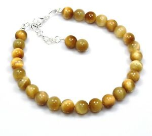 """Natural Tiger's Eye Bracelet Sterling Silver Jewelry 6.5"""" 7.5"""" Christmas Gift"""