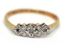 Pretty Art Deco 18 ct yellow gold and platinum diamond ring size M Engagement
