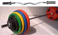 "48.5KG Olympic EZ Curl Bar Weight Set Rubber Tri-Grip 2/"" hole Discs Plates"