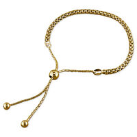 9ct Yellow Gold on Sterling Silver Popcorn Adjustable Slider Bracelet