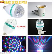 Bombilla RGB LED E27 Discoteca Giratoria luces De Colores Casquillo Adaptador 2W