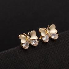 Women Lovely Butterfly Shape Ear Studs Luxury Zircon Charm Earrings Jewelry Gift