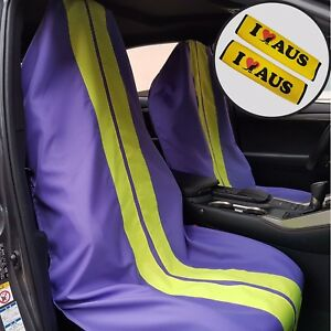 Purple Throw Over Slip On Car Seat Covers & Seat Belts Shoulder Pads For Toyota