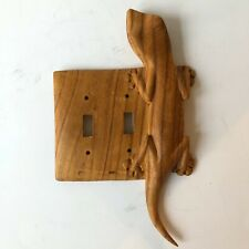 Lizard Gecko Southwest Carved Double Switch Plate Cover Wooden Wood Handmade Art