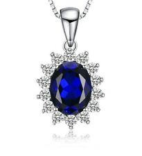 White gold finish blue sapphire and created diamond oval pendant necklace