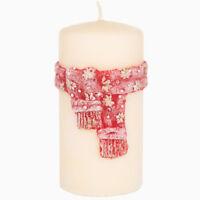 Stumpe Kerze Weihnachten Winter Scarf Handarbeit Ø 7 cm 14 cm creme rot Advent