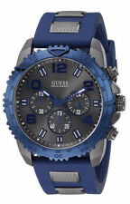 Guess U0599G2 Men's Iconic Blue Sporty Silicone Band Chronograph Watch