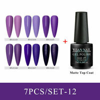 7x/set RBAN NAIL 8ml Glitter UV Gel Nail Polish Matte Top Coat Soak off Manicure