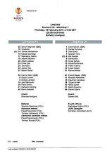 Teamsheet - BSC Young Boys v Everton 2014/15 UEFA Europa League